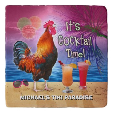 Beach Themed Tropical Beach Cocktail Bar Funny Rooster Chicken Trivet