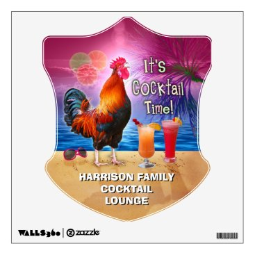 Beach Themed Tropical Beach Cocktail Bar Funny Rooster Chicken Wall Decal