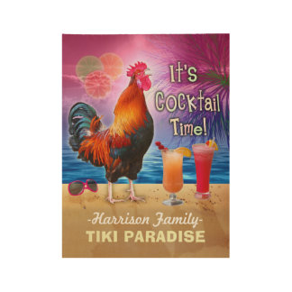 Tropical Beach Cocktail Bar Funny Rooster Chicken Wood Poster