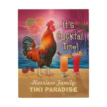 Beach Themed Tropical Beach Cocktail Bar Funny Rooster Chicken Wood Print