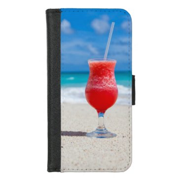 Beach Themed Tropical beach cocktail drink iPhone 8/7 wallet case