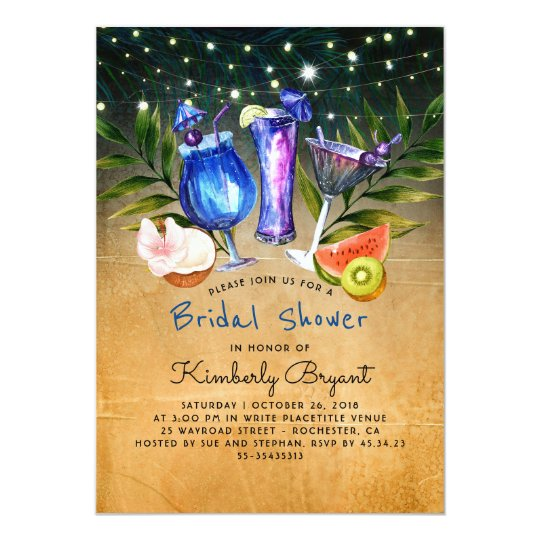 tropical beach cocktail party bridal shower invitation