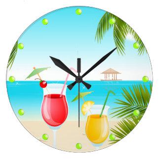 Tropical Beach Cocktail Round Wall Clock