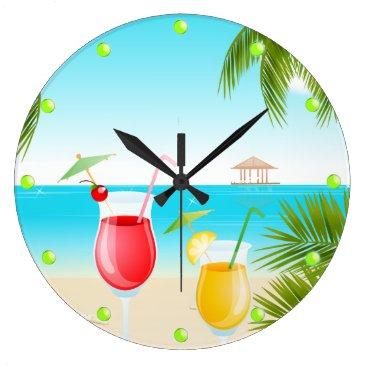 Beach Themed Tropical Beach Cocktail Round Wall Clock
