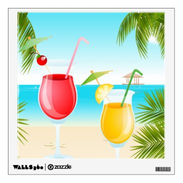 all_summer_products Tropical Beach Cocktail Square Wall Decals