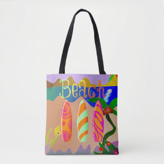 Tropical Beach Colorful Surfboards Tote Bag