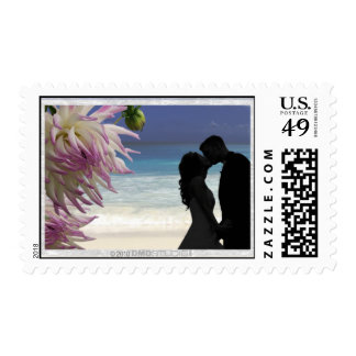 Tropical Beach Couple Postage