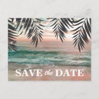 Tropical Beach Destination Save the Date Announcement Postcard