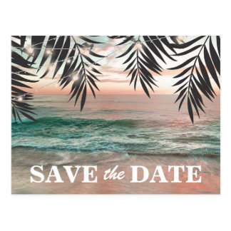 Tropical Beach Destination Save the Date Postcard