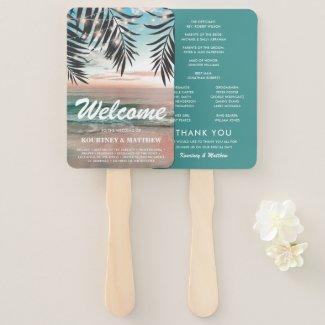 Tropical Beach Destination Wedding Program Fans