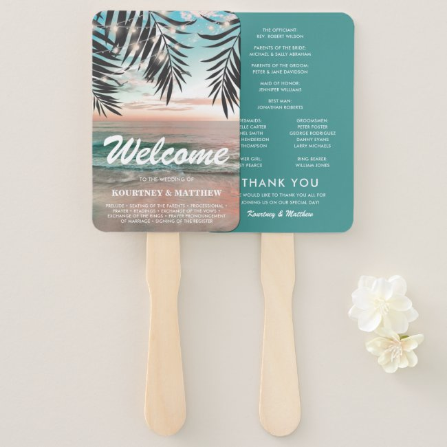 Tropical Beach Destination Wedding Program Hand Fan