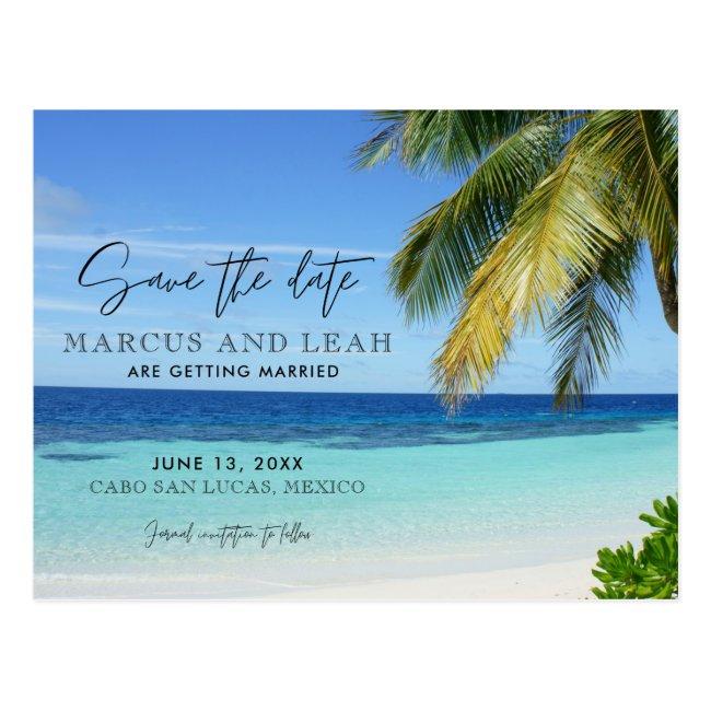 Tropical Beach Destination Wedding Save the Date Postcard