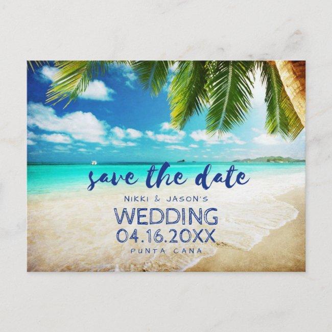 Tropical Beach Destination Wedding Save the Dates Announcement Postcard