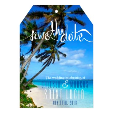 TropicalPapers Tropical Beach Destination Wedding Save the Dates Card