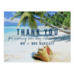 Tropical Beach Destination Wedding Thank You Postcard