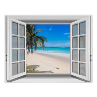 Tropical Beach Fake Window View 3D Poster