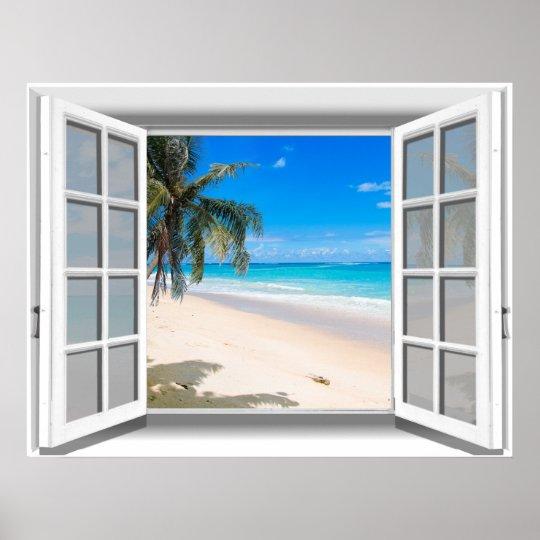 Tropical Beach Fake Window View 3D Poster   Zazzle.com