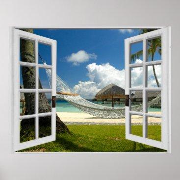 Beach Themed Tropical Beach Fake Window View Poster