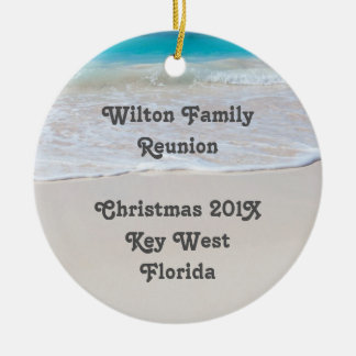 Tropical Beach Family Reunion Keepsake Ornament