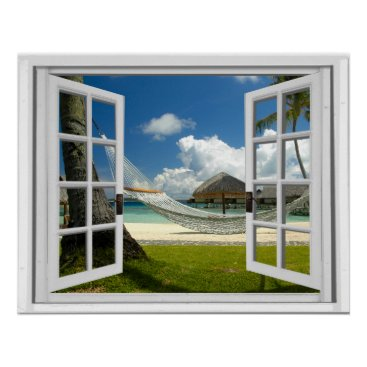 Beach Themed Tropical Beach Faux Artificial Window View Poster