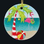 """Tropical Beach Flamingo Palm  Christmas Ornament<br><div class=""""desc"""">Tropical Beach Flamingo Palm Tree Christmas Ornament</div>"""