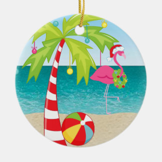 Tropical Beach Flamingo Palm  Christmas Ornament