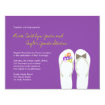 "Tropical Beach Flip Flops Summer Wedding Invite 4.25"" X 5.5"" Invitation Card"