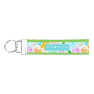 Tropical Beach Floral Pattern Personalized Wrist Keychain