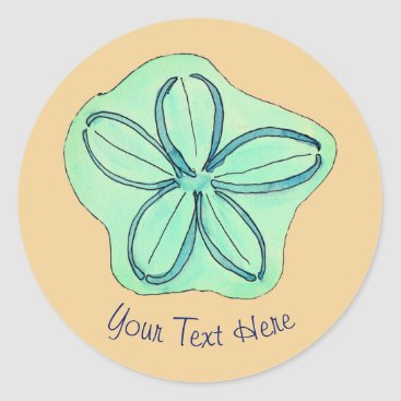 Beach Themed Tropical Beach Flower Classic Round Sticker