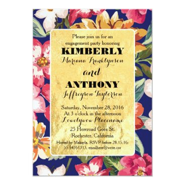 Beach Themed tropical beach flowers gold navy engagement party card