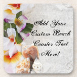 Tropical Beach Flowers/Shells Drink Coasters