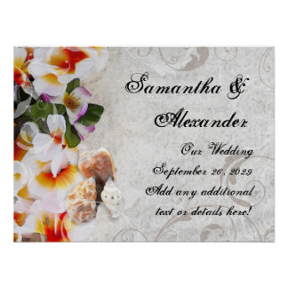 Tropical Beach Flowers/Shells Poster