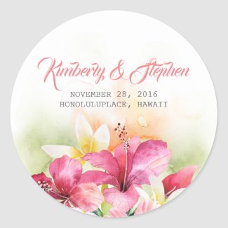 Tropical Beach Flowers Wedding Classic Round Sticker