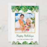 "Tropical Beach Foliage Christmas Lights Gold Photo Holiday Card<br><div class=""desc"">This fun, modern holiday card design features lush tropical beach foliage on the front, decorated with glowing multicolored lights, at the top and bottom. In the middle is a customizable gold-edged square photo that you can replace with your own. Below the photo are two customizable text lines so that you...</div>"