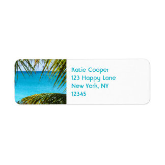 Tropical Beach framed with Palm Fronds Label