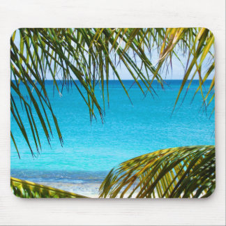 Tropical Beach framed with Palm Fronds Mouse Pad