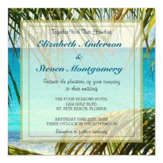 Tropical Beach framed with Palm Fronds Wedding Card
