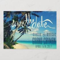 Tropical Beach Grand Cayman Wedding Save the Date