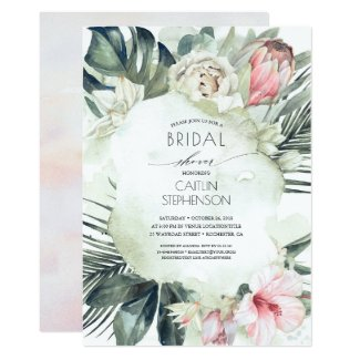 Tropical Beach Greenery and Flowers Bridal Shower Invitation