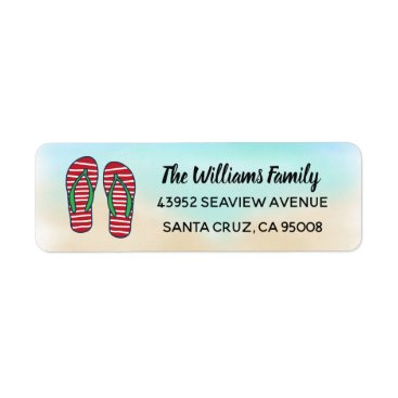 Beach Themed Tropical Beach Hawaiian Christmas Red Flip Flops Label