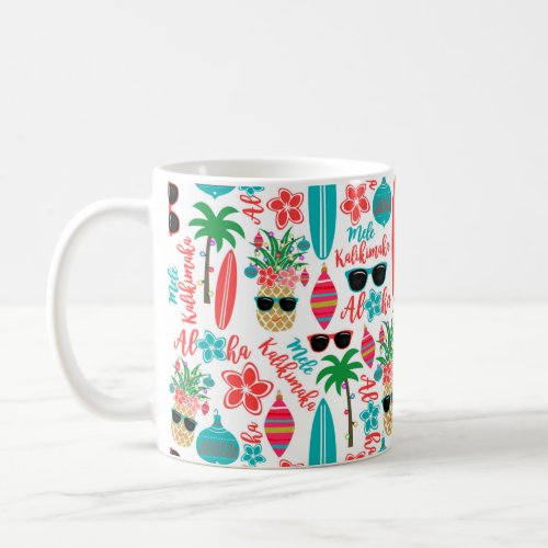Tropical Beach Hawaiian Pineapple Mele Kalikimaka Coffee Mug