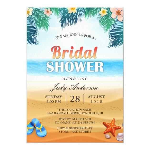 Tropical Beach Hawaiian Summer Bridal Shower Card (front side)