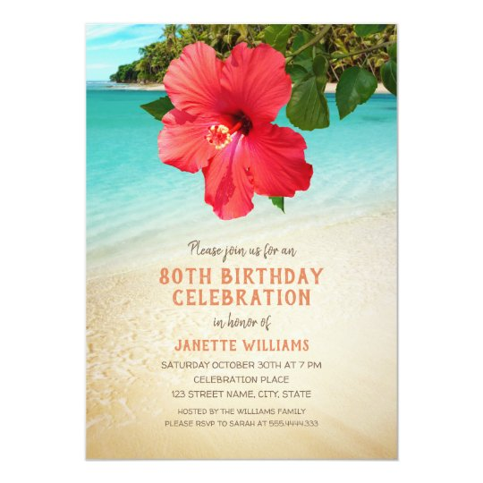 tropical beach hawaiian themed 80th birthday party invitation