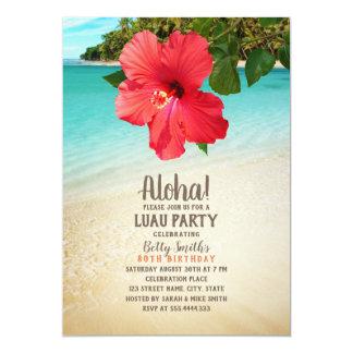 Tropical Beach Hawaiian Themed Luau Birthday Party Card