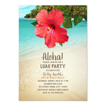 Tropical Beach Hawaiian Themed Luau Birthday Party Card
