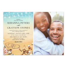 Tropical Beach Heart Photo Wedding Invitation
