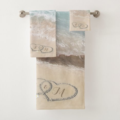 Tropical Beach Heart Shore Monogram Bath Towel Set