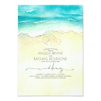 Tropical Beach Heart Watercolor Shore Wedding Invitation
