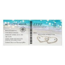 Tropical Beach Heart Wedding Ticket with RSVP