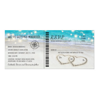 Tropical Beach Heart Wedding Ticket with RSVP Invitation